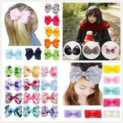 For Girls Hair Clips Accessory Bow Ties Headband Sweet Child