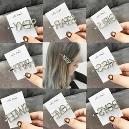 Glitter Women's Words Hair Clips Chic Girls Crystal Rhinesto