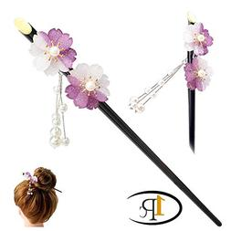FINGER LOVE Glittered Gradient Flowers Acrylic Hair Stick wi