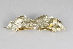 "Gold leaf metal barrette curved hair clip leaves 3.5"" long s"