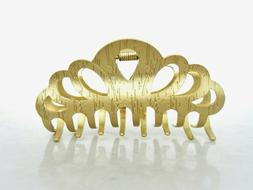 Gold textured metal hair claw clip jaw clip