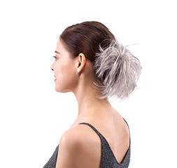 MERRYLIGHT Grey White Synthetic Hair Extensions Ponytail Bun