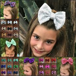 Hair bows 5 inch sequin sparkle on clip baby toddler girls 3
