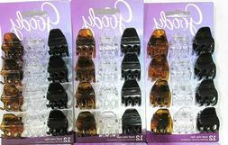 "3 Pack Hair Claw Clip Goody Small Brown Black Clear - 1""  82"