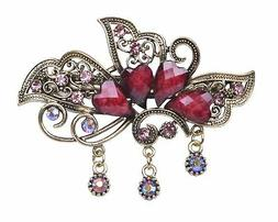 Sankuwen Heart Design Vintage Hairpin Rhinestone Hair Barret