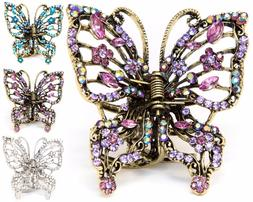 hot sale rhinestone crystal big butterfly gold