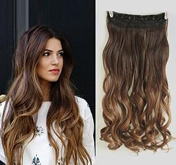 20 Inches Wavy 3/4 Full Head Clip in Hair Extensions Ombre O