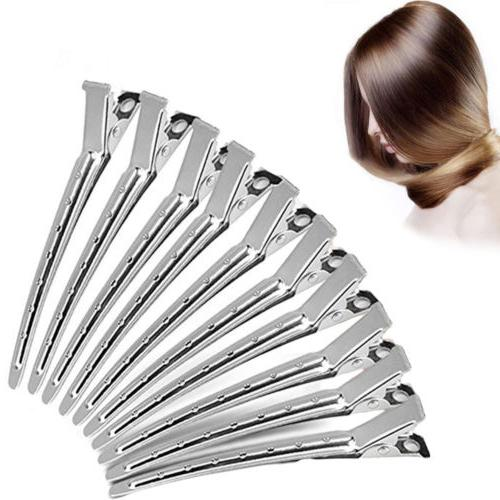 10 Metal Duck Bill Hair Clips For Professional Salon