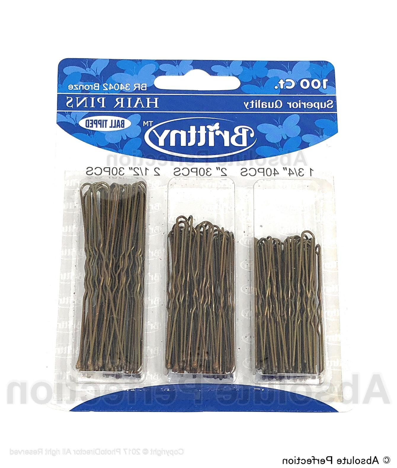 100 ct Hair Pins Ball Tipped Bobby Pin Hair Clips Assorted S