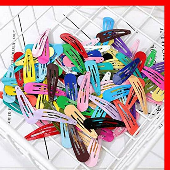 100 Candy Color Barrettes for Kids Snap Hair Clip Kit