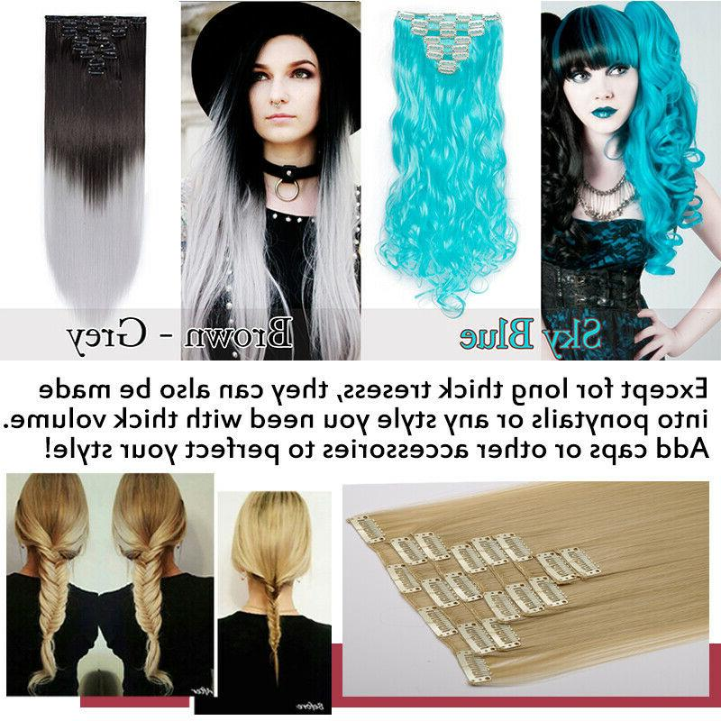 Clip Hair Extensions 8 Pieces Long Human