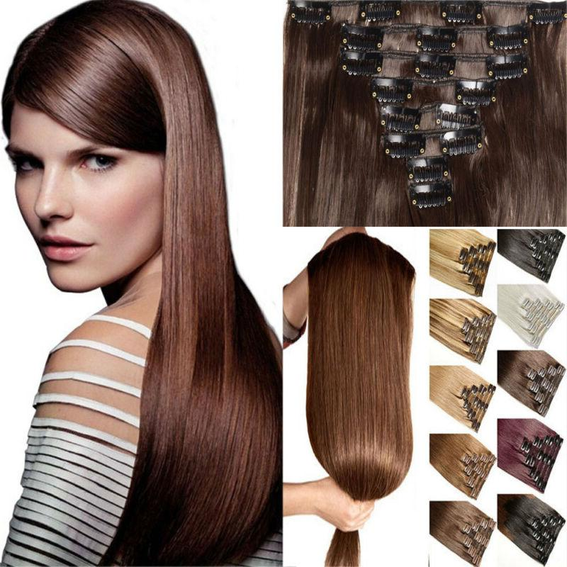 100% Natural Real Clip in Hair Extensions 8 Pieces Full Head