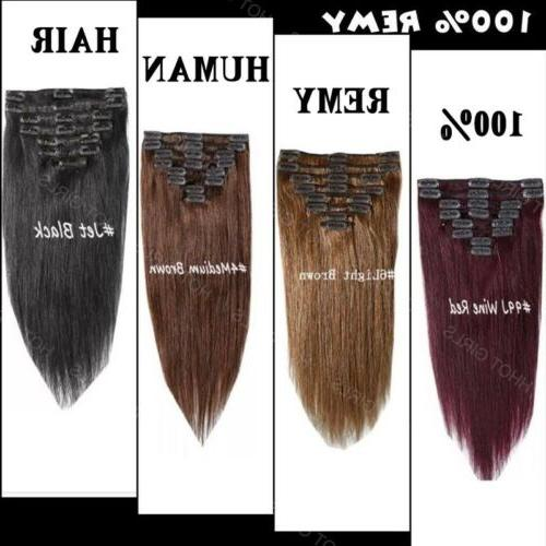 100% Clip in Hair Extensions Pieces Full Human Hair