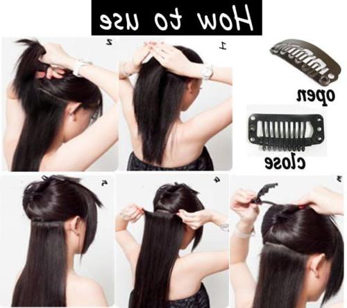 100% Clip in Hair Extensions Pieces Head Human MX5
