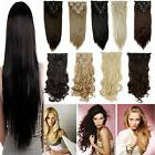 100% Real Natural Full Head Clip in Hair Extensions 18 clips