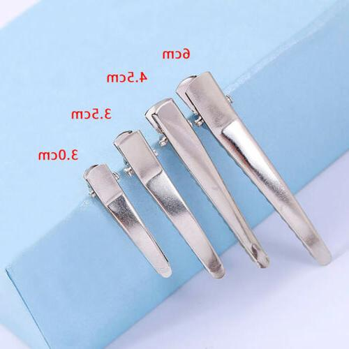 100pcs silver single prong duckbill clip stainless
