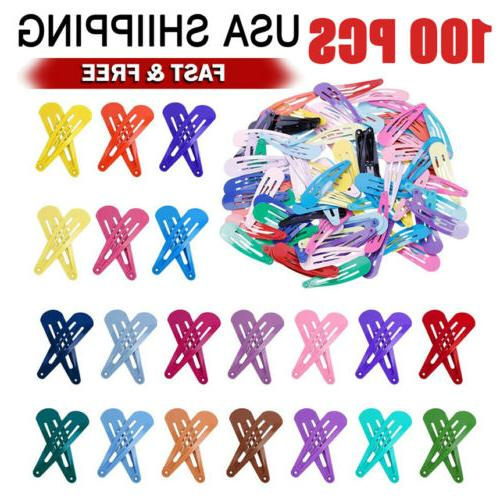 100pcs solid candy color barrettes for girls