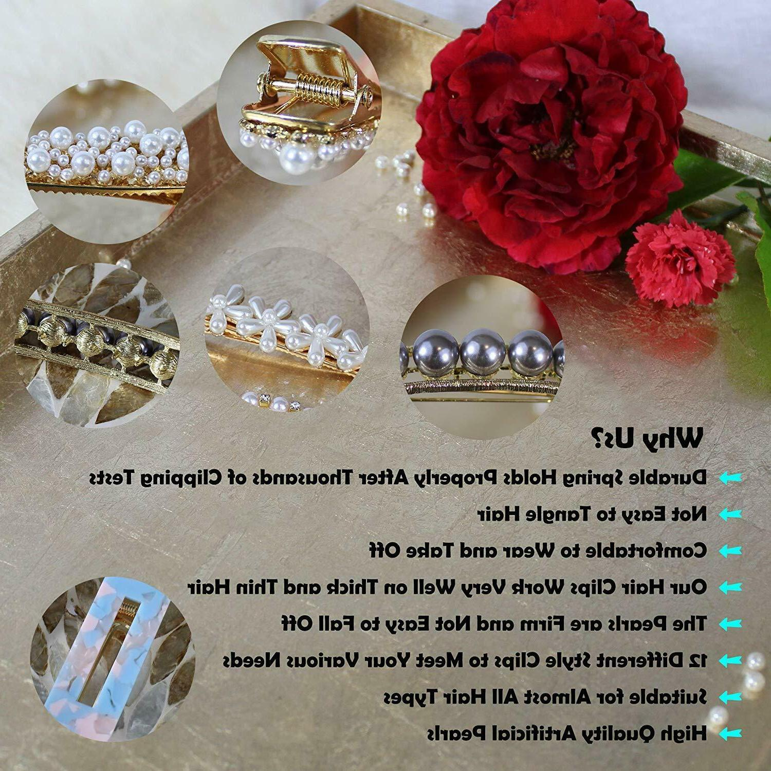 12 Pcs Hair Clip for Woman Fashion Geometric Acrylic