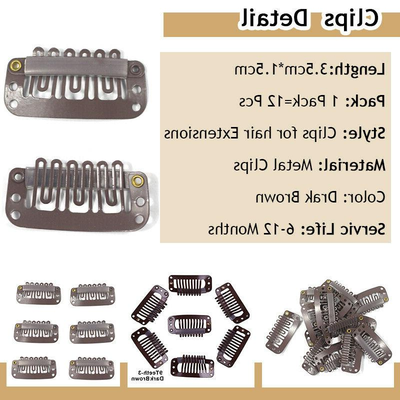12 Metal Clips Extensions Weft Clip-on Hair U Shape Brown