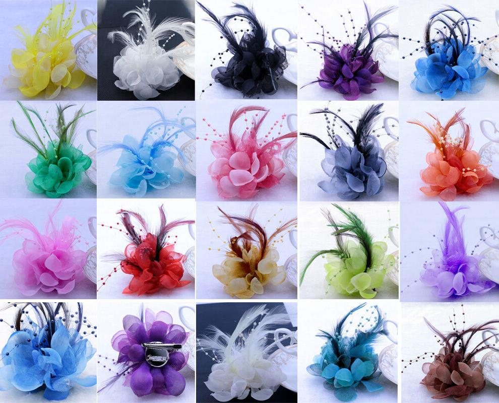 18colors pearl corsage hair clip flower fascinator