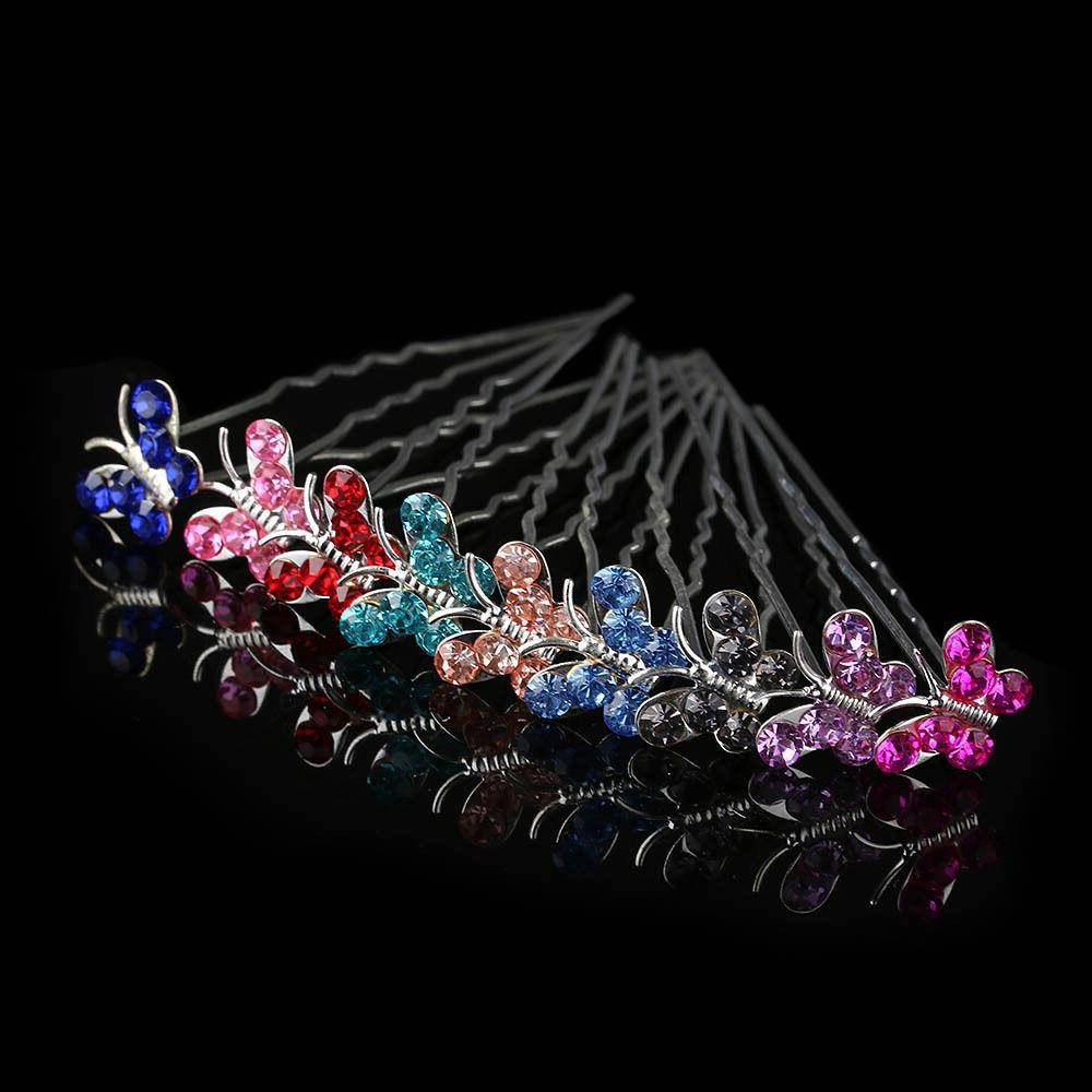 20 / BUTTERFLY Rhinestone Clips Wedding