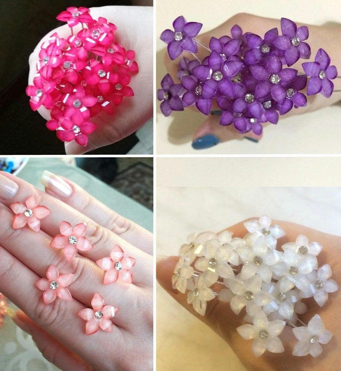 20 40pcs crystal flower rhinestone hair pins