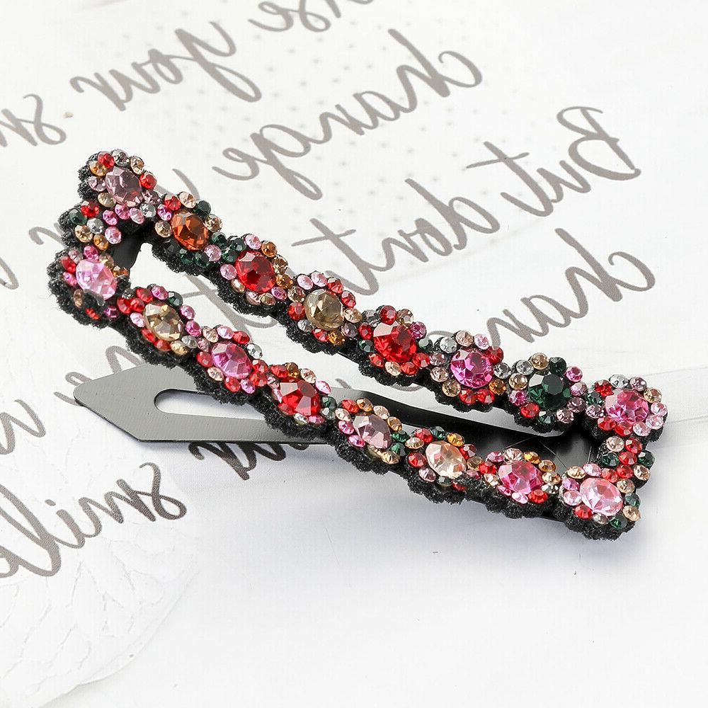 2PCS Women's Crystal Hair Clips Barrette Slide Hair