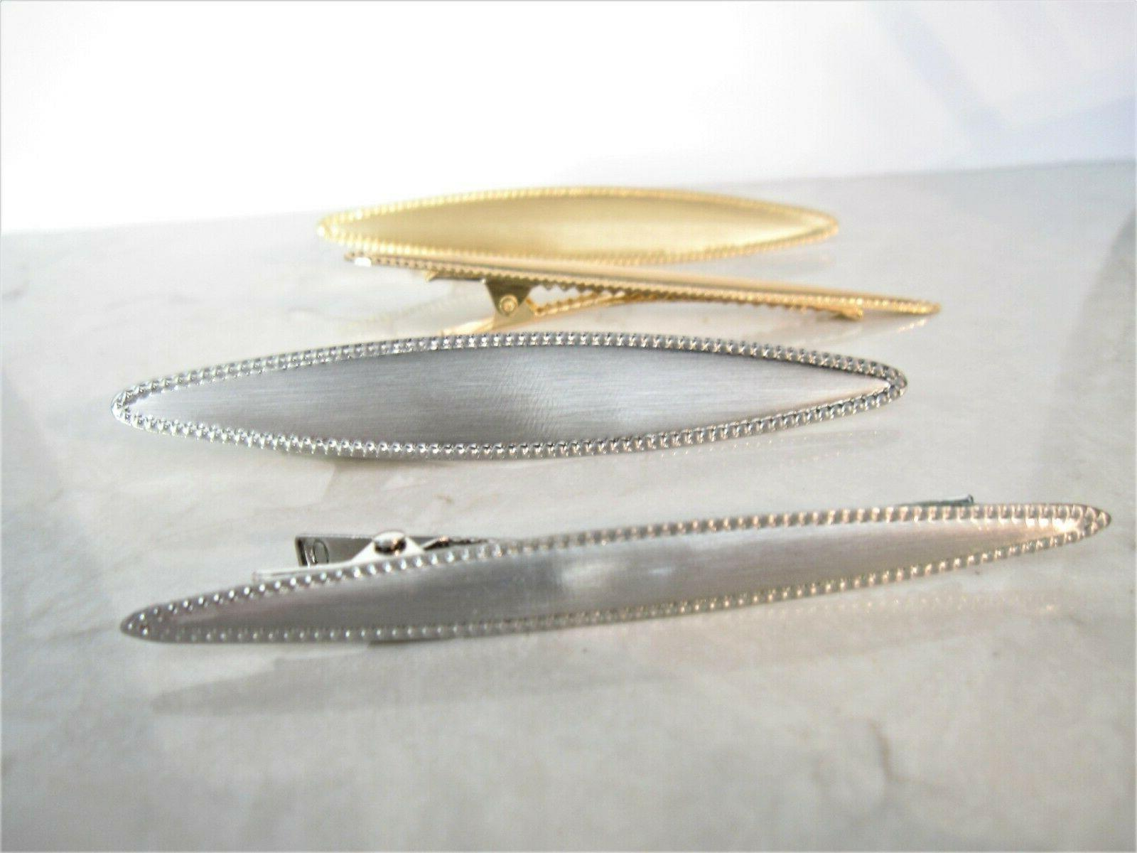 3 smaller gold silver alligator hair claw clip clamp