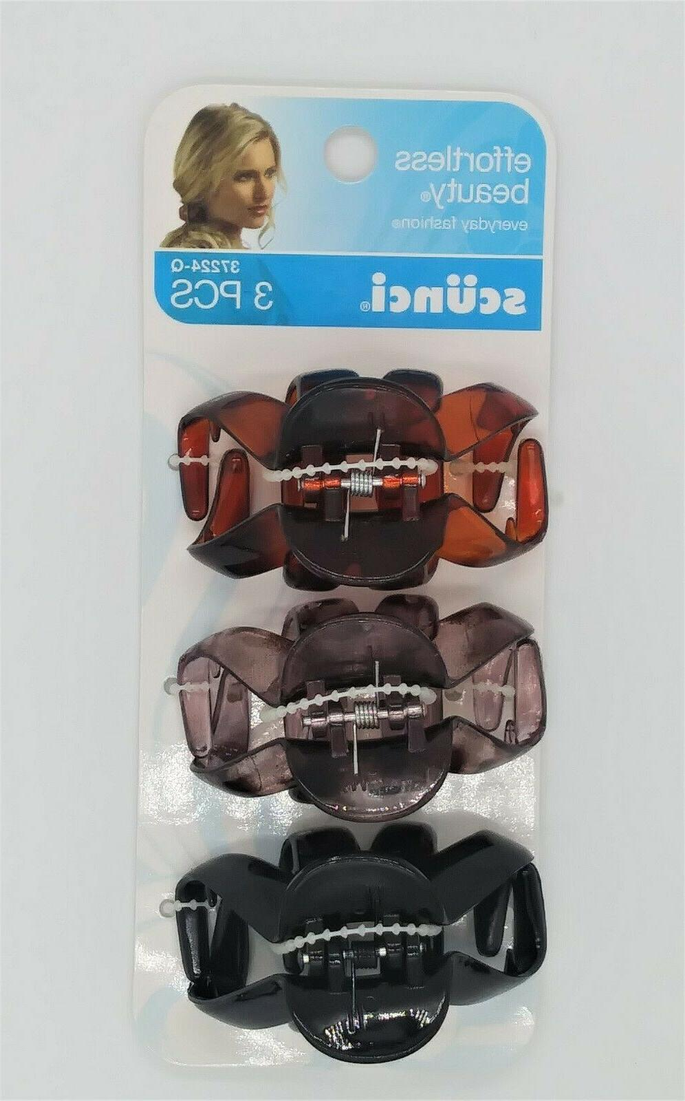 3 piece hair clips jaw octopus brown