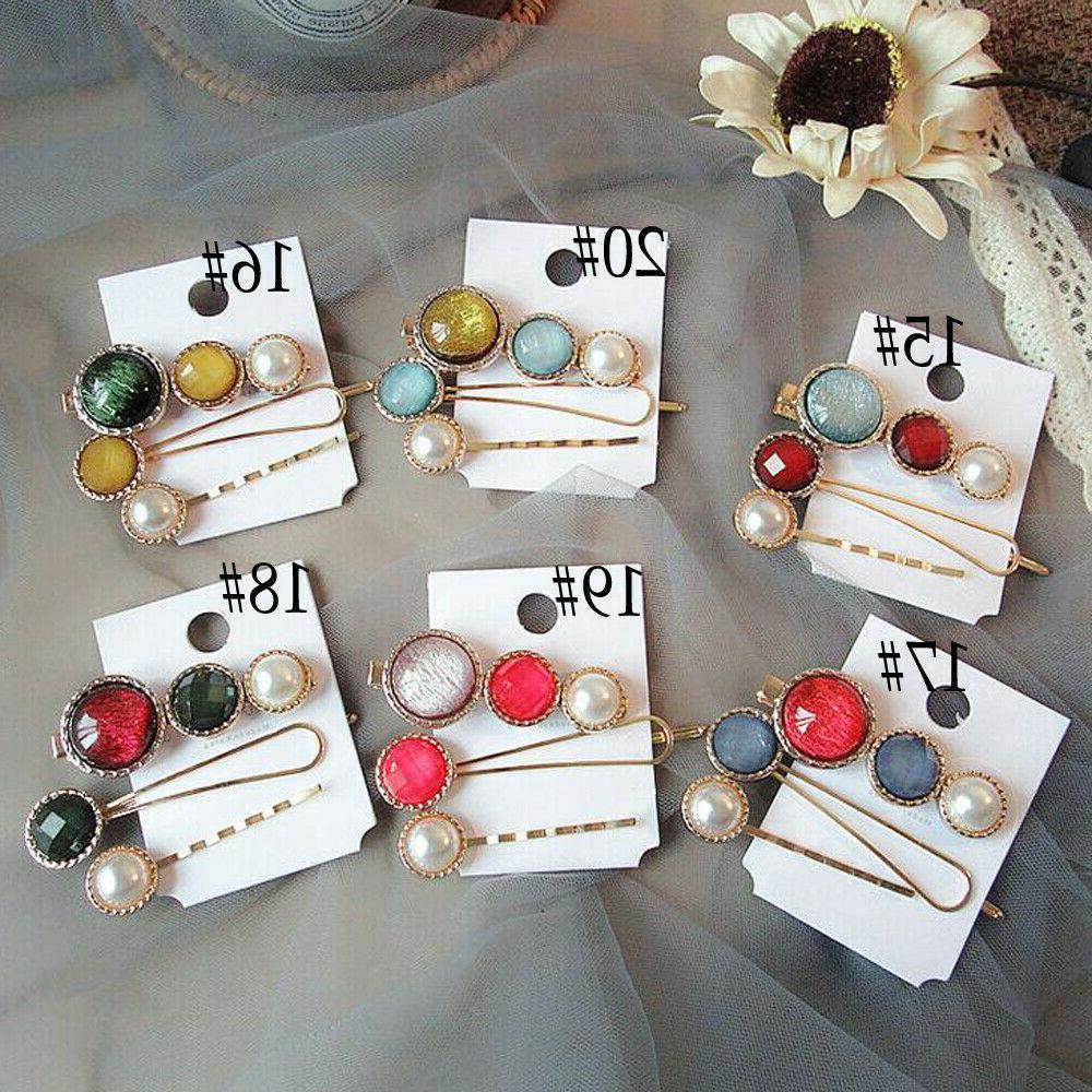 3Pcs Hair Clips Snap Stick Hairpin