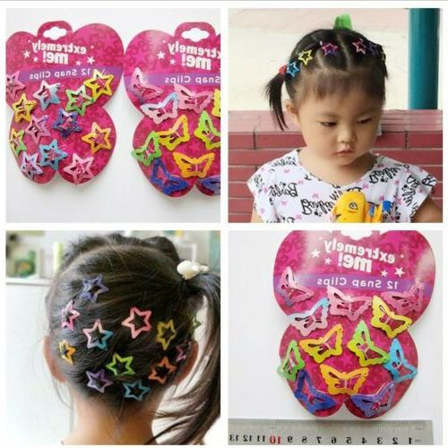 48 pcs star butterfly hair clips snaps