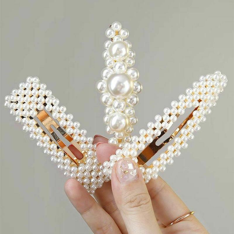 4Pcs Pearl Acrylic Hair Clips Snap Stick Hairpin