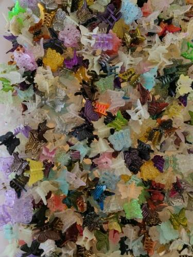 50 mixed mini plastic butterfly hair clips