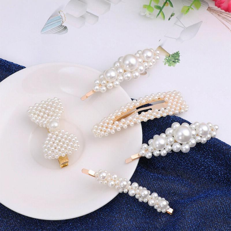 5pcs/6pcs Women Girl Elegant Pearl Clips Barrettes Accessories