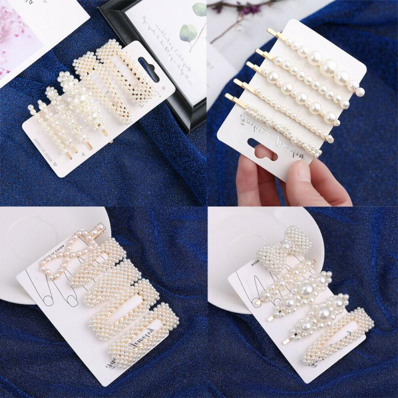 5pcs/6pcs Women Elegant Pearl Barrettes Accessories