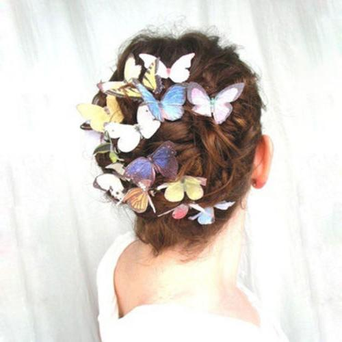 5Pcs Butterfly Flower Hair Claw Clips Wedding Party Pins
