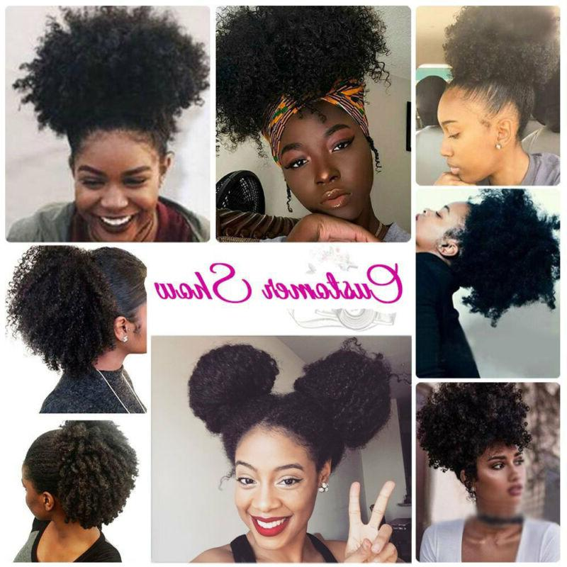 Afro Kinky Curly Extension Ponytail Updo Human Black