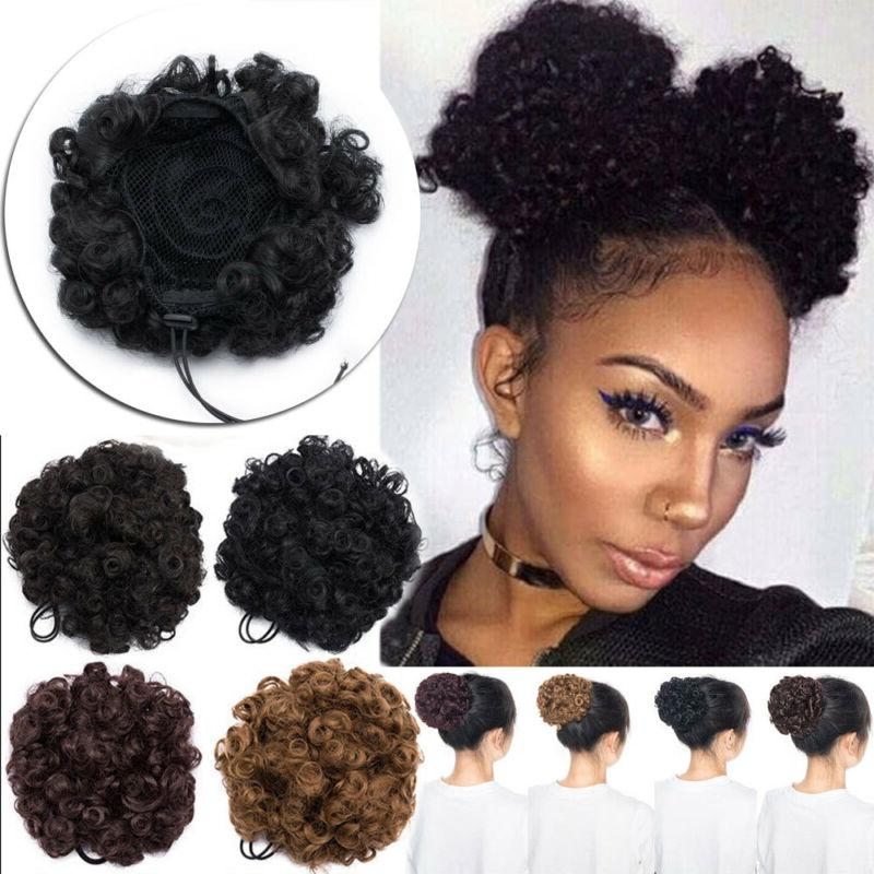 afro kinky curly hair extension bun clip