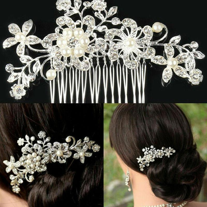 Bridesmaid Crystal Flower Hair Slide Comb Wedding Tiara Headpiece