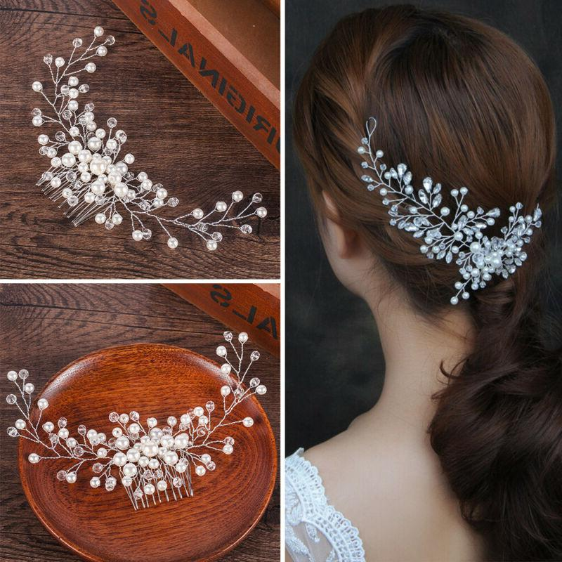Bridesmaid Crystal Flower Hair Slide Comb Wedding Headpiece Jewelry