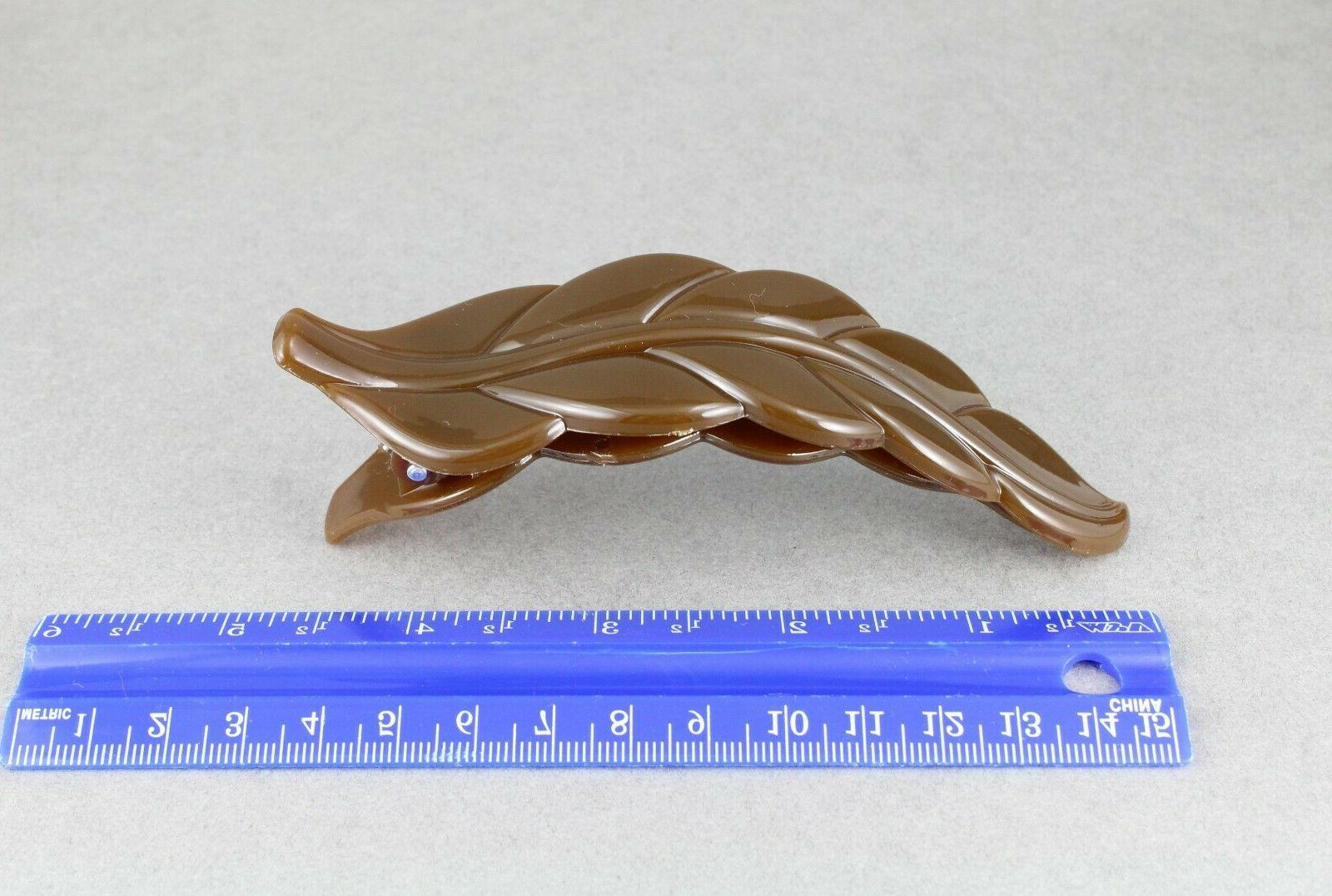 "Brown leaf barrette hair 4.5"" long stamped"