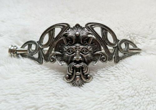 celtic knot green man silver hair clip