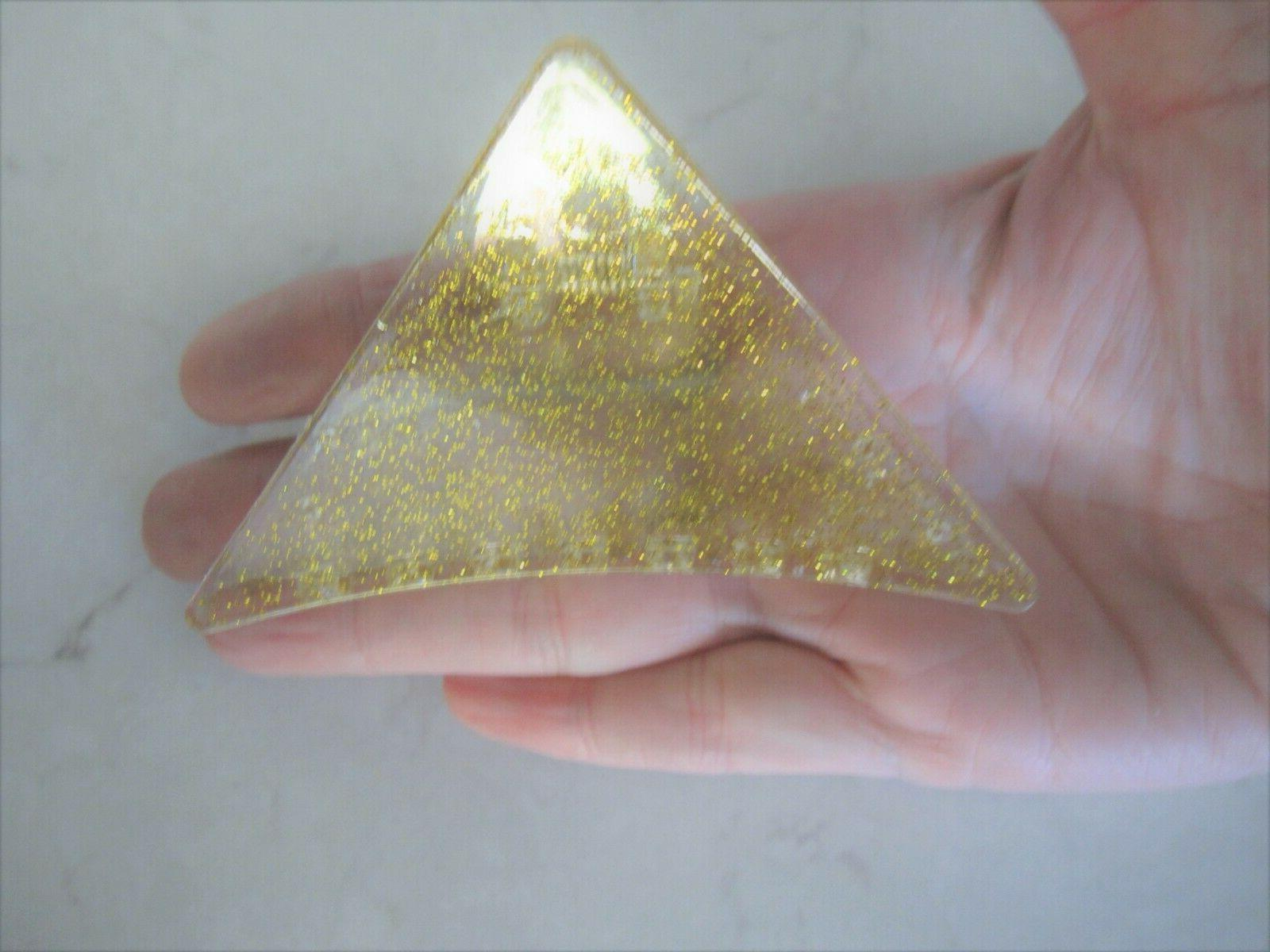 Clear triangle gold sparkle clip
