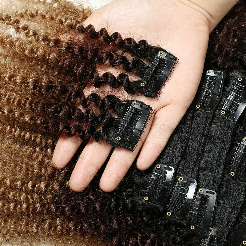 8pcs/Set Clips in Afro Kinky Ombre Curly US