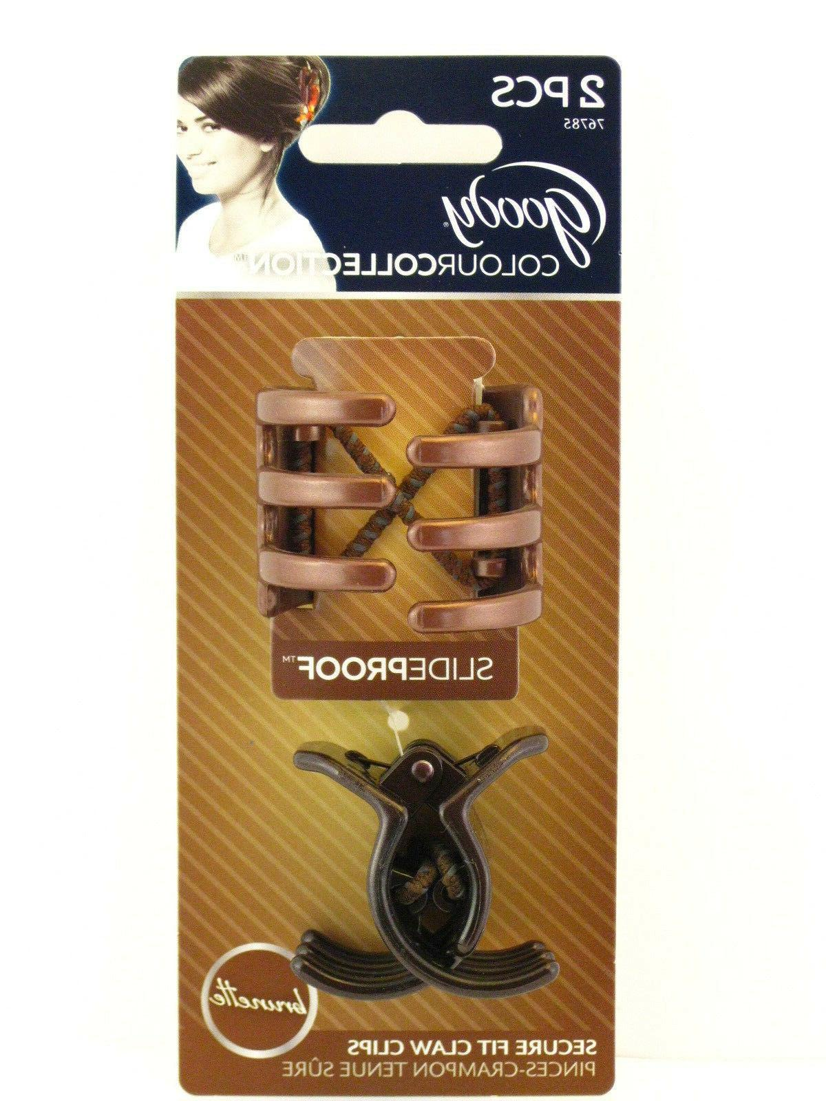 colour collection slideproof claw hair clips brunette