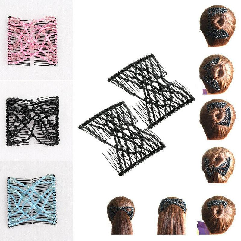Double Fashion Magic Elasticity Clip Stretchy Combs