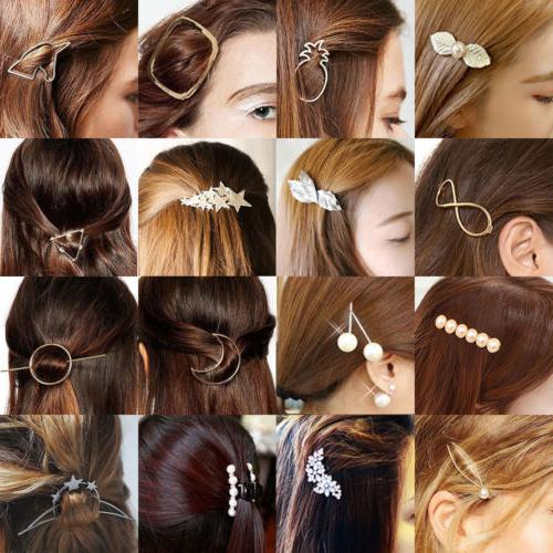 Fashion Women Girls Gold Silver Animal Flower Hairpin Hair C