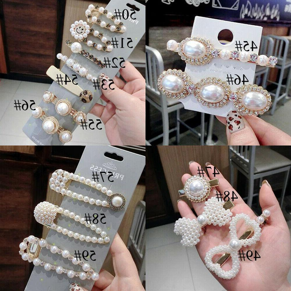 Fashion Women Pearl Hair Clip Snap Barrette Stick Hairpin
