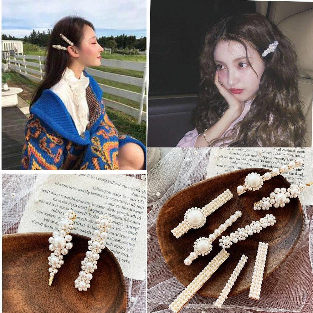 women girls crystal pearl hair clips snap