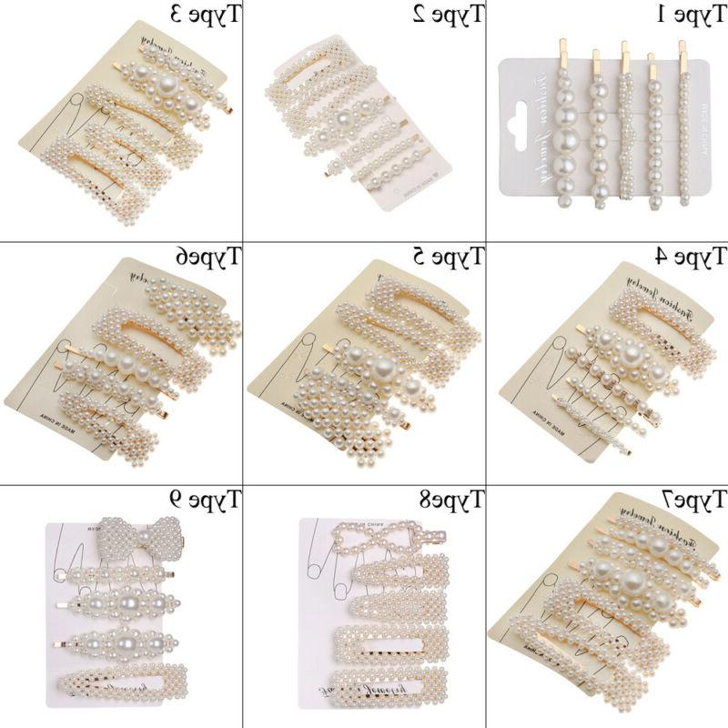 5pcs/6pcs Fashion Elegant Pearl Clips Barrettes Hair